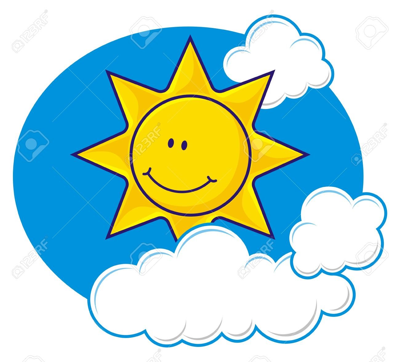 Cartoon of a smiling sun with fluffy clouds - 5164152