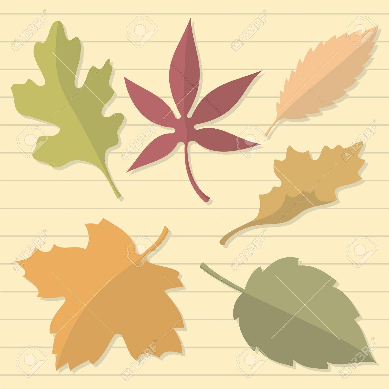 Autumn leaves on beige lined paper - 5602360