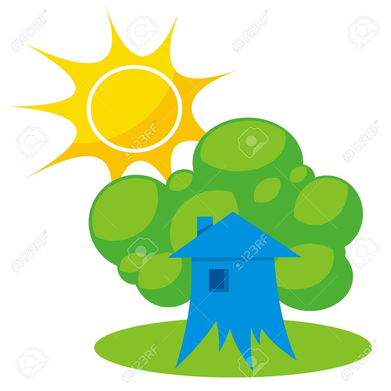 Greener home icon with tree like building and sun - 5776846