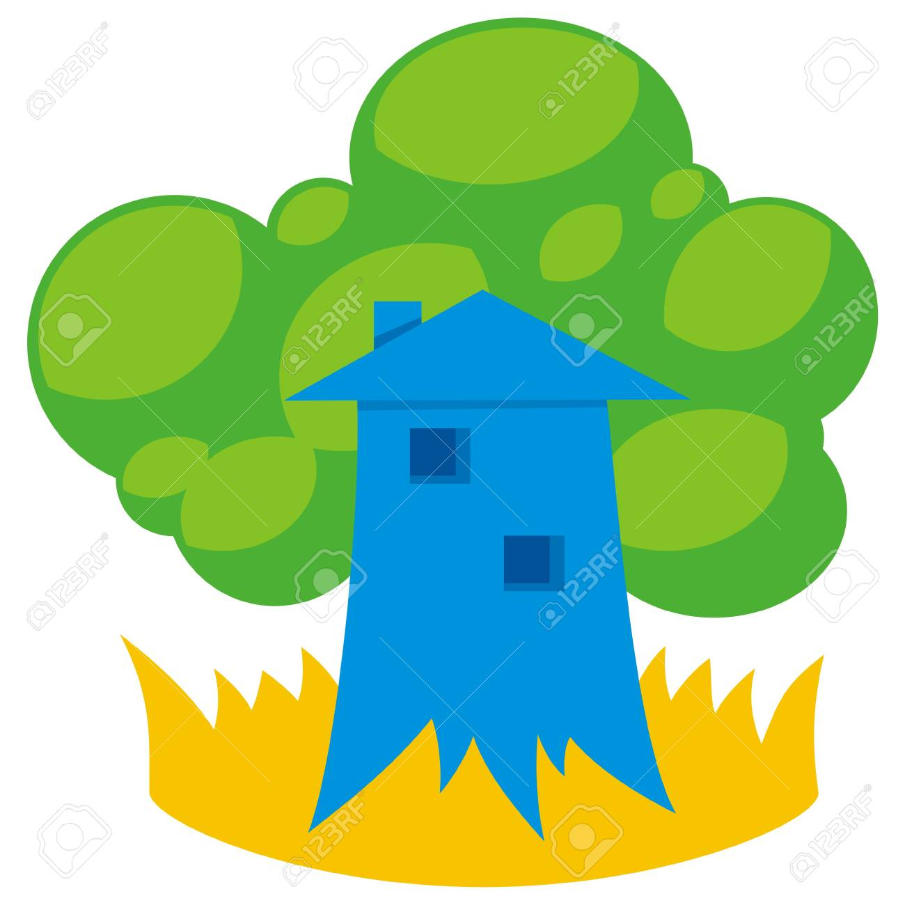 Greener home icon with tree like building - 5776845