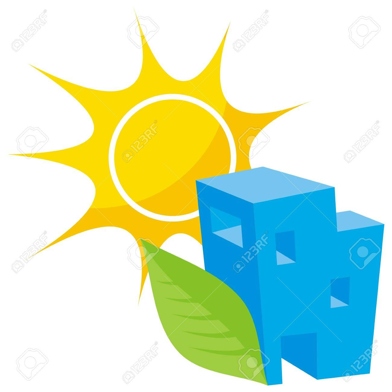 Greener home icon with blue building leaf and sun - 5776844
