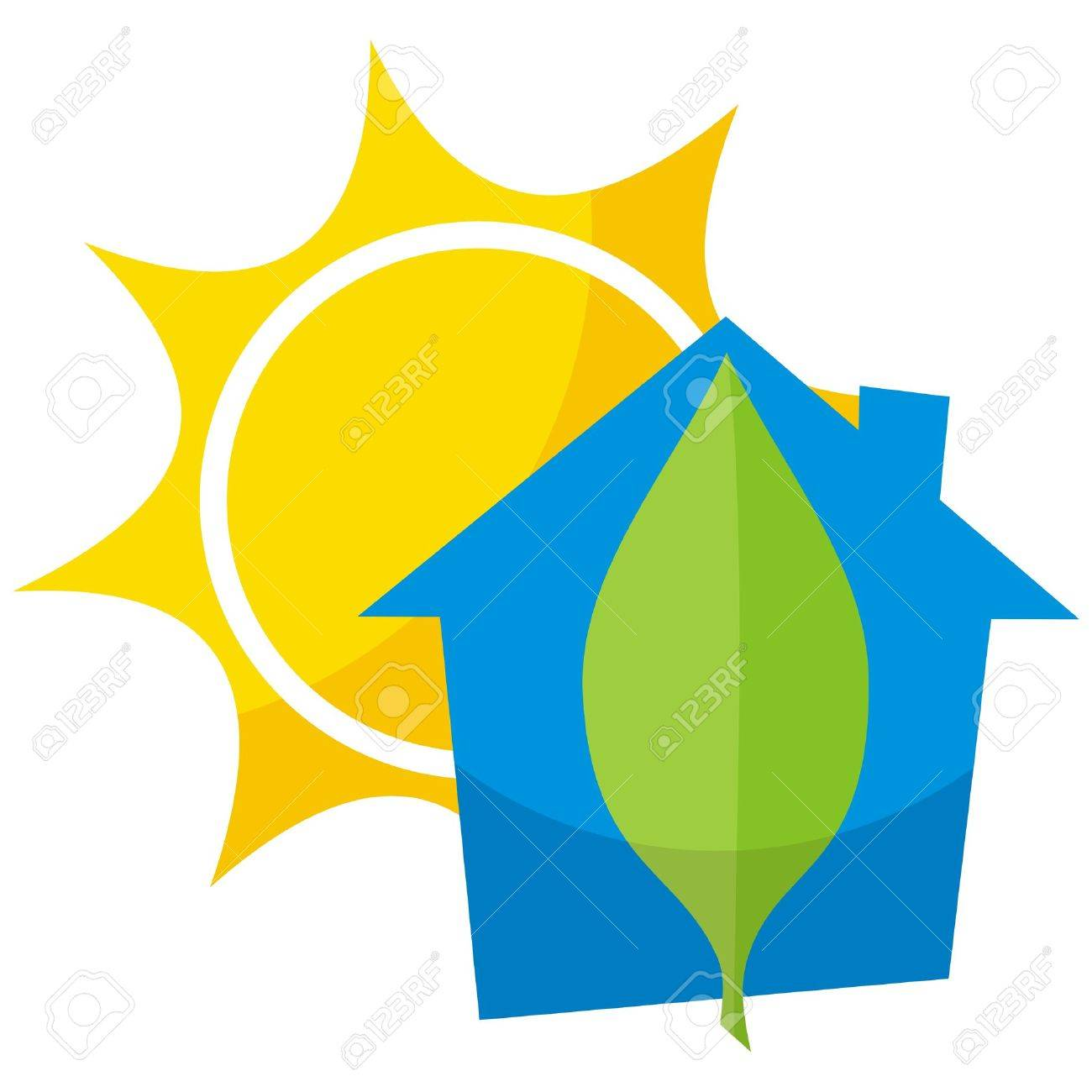 Greener home icon with blue building leaf and sun - 5776843