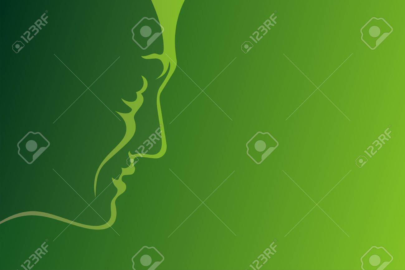 Lineart profile of mature man on green background - 5787024