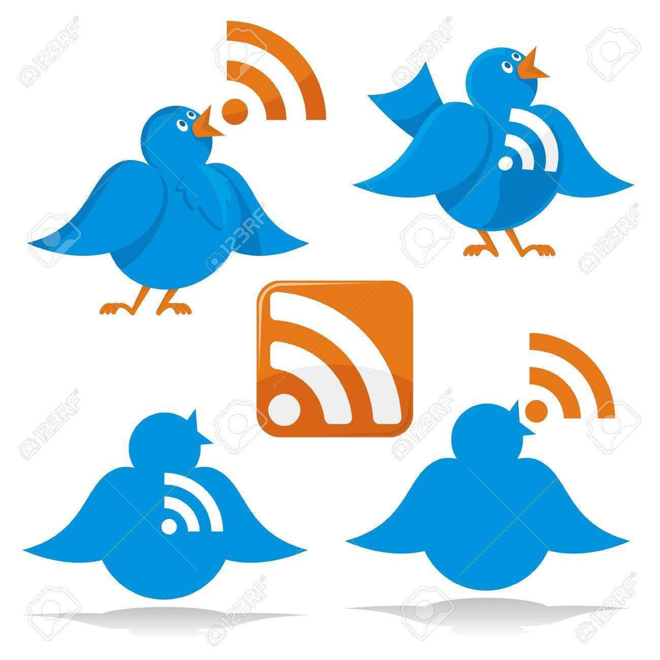 Blue twitter bird cartoon with RSS feed icons - 5821933