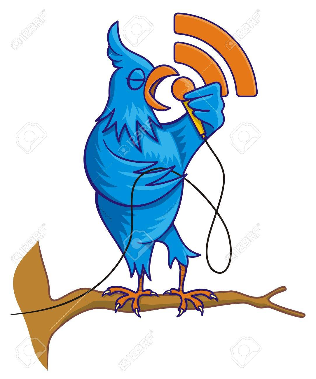 Cartoon illustration of blue bird on a tree branch singing with RSS icon - 5821935