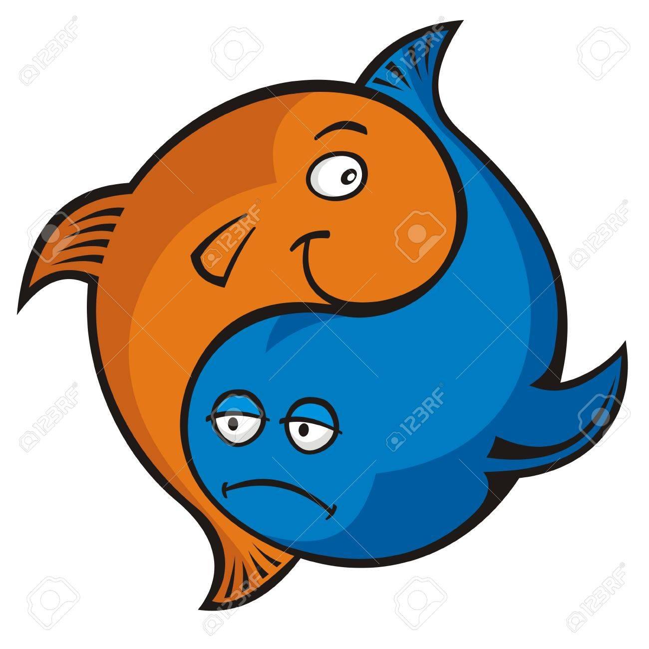 Blue and orange cartoon fish yin yang or pisces symbol - 5871212