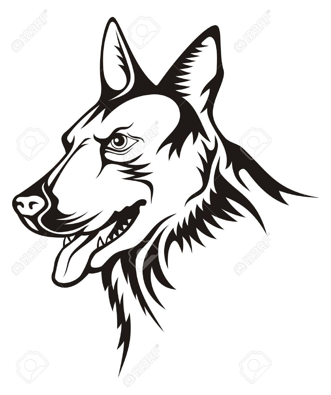 Tattoo illustration of german shepherd guard dog Stock Vector - 6252110