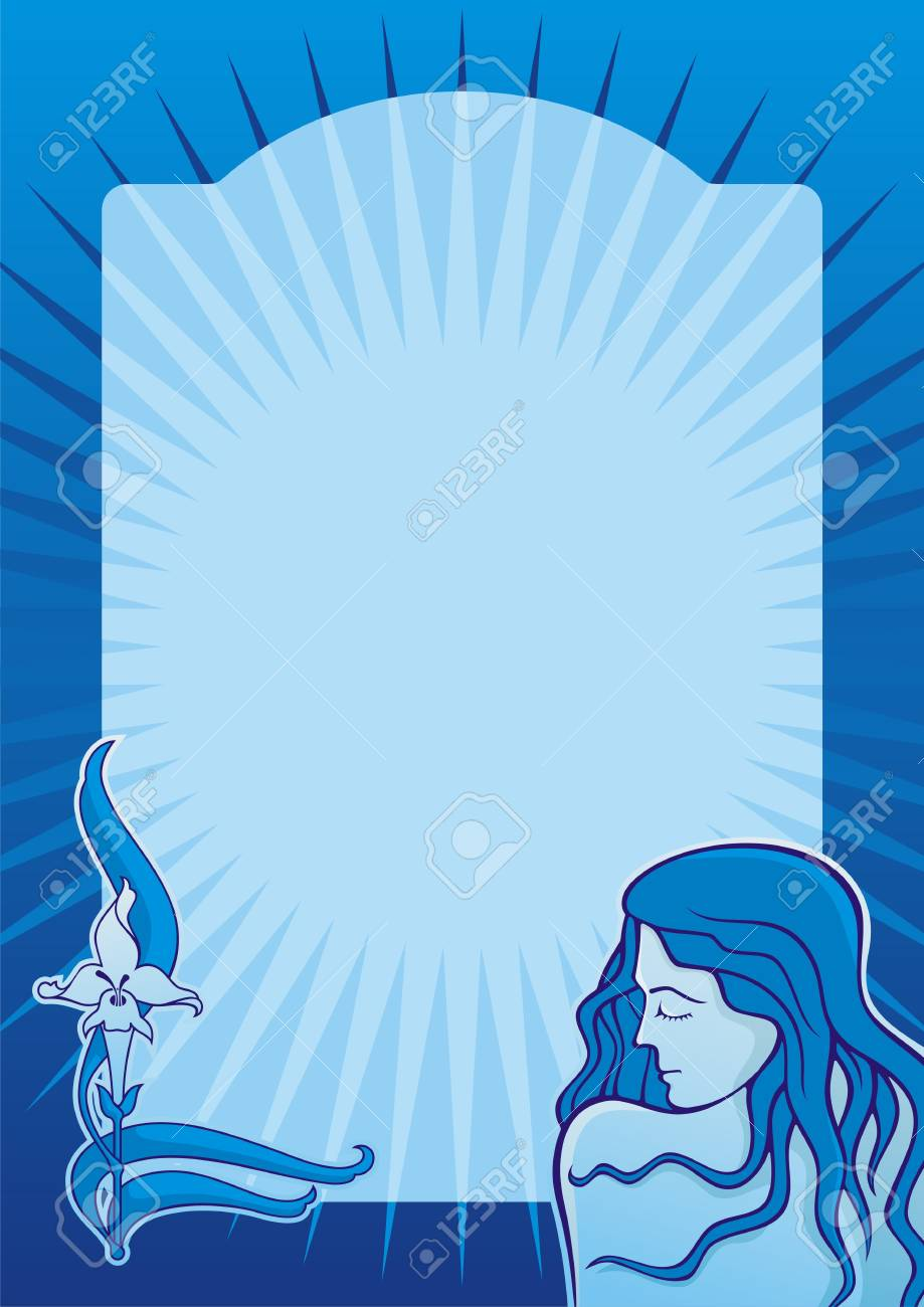 Young spa girl with iris flower on blue vertical background Stock Vector - 6552362