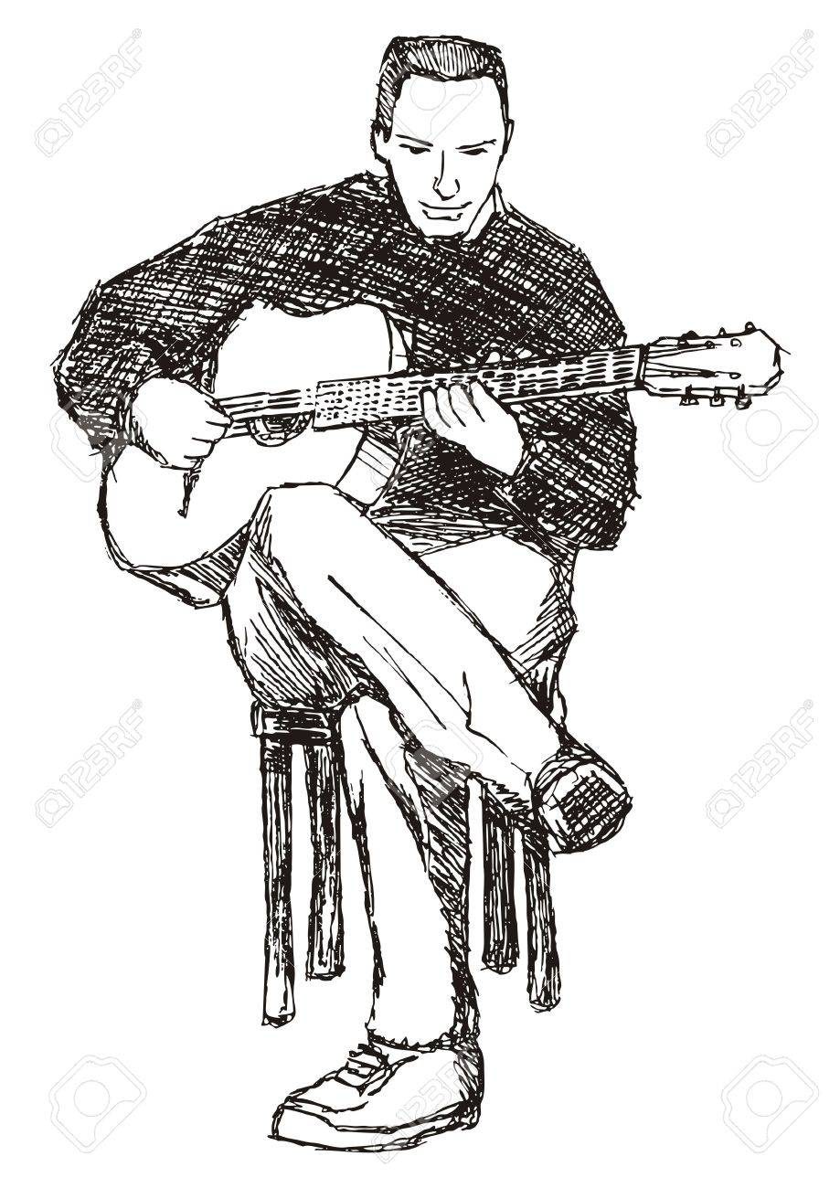 Rough sketch of young acoustic guitar performer - 6901308