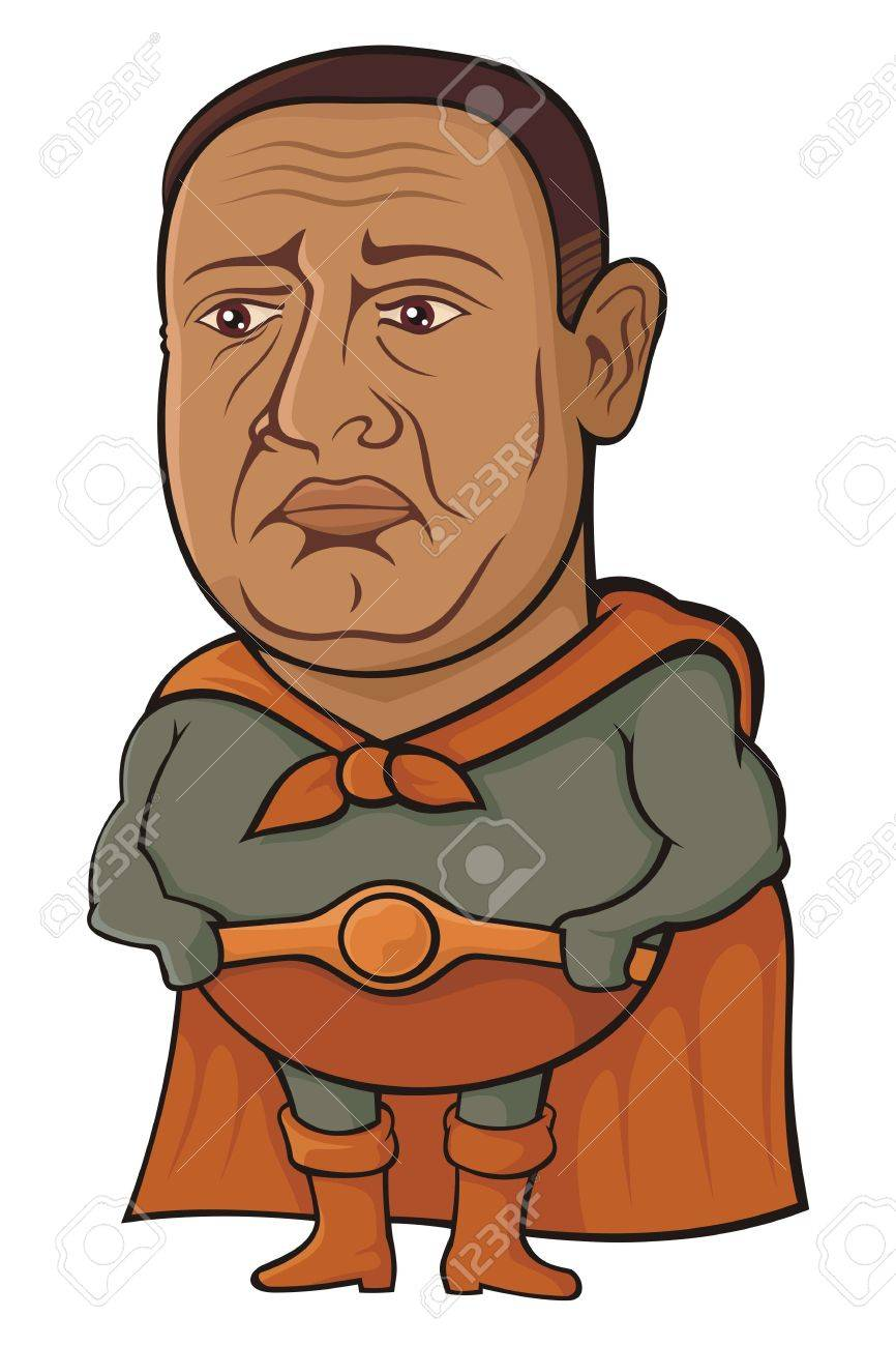 Overweight middle-aged super hero cartoon looking sad - 6901309