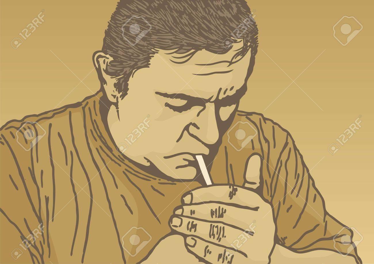 Sketch of man lighting a cigarette on beige background - 6901310