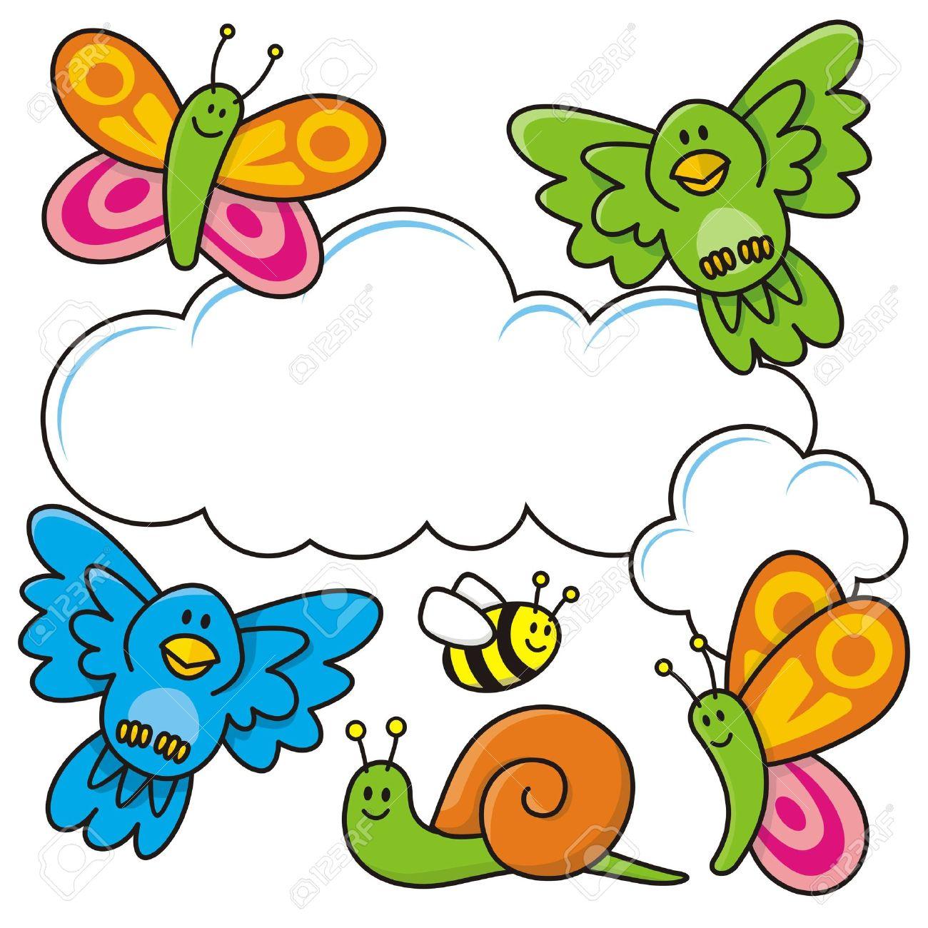 Una Escena De Primavera Con Dibujos De Animales De Bebé Mariposas