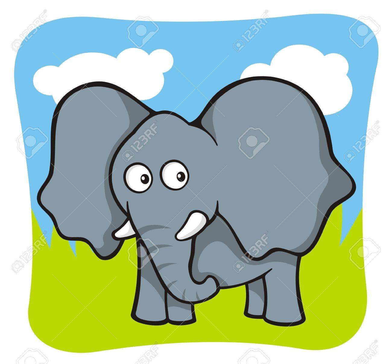 Cute baby elephant cartoon on sky and grass background - 7309038