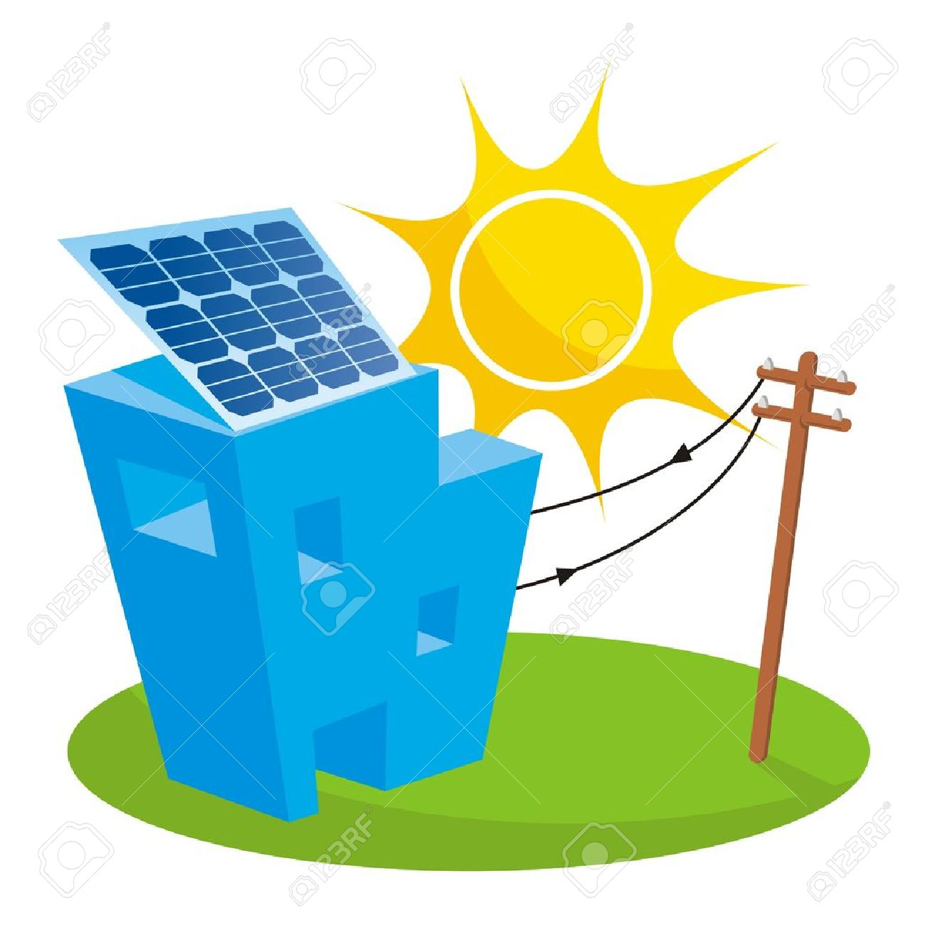 Solar panel on house roof connected to electricity pole Stock Vector - 8404715