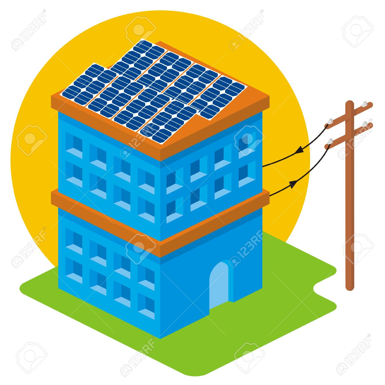 Isometric house with solar panels on roof connected to electricity pole - 8481393