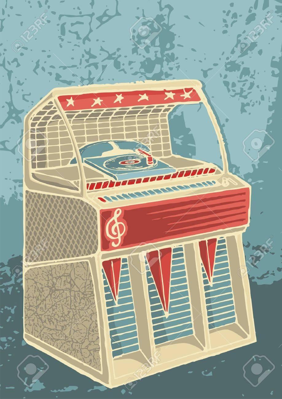 Sketch of retro jukebox on grunge background - 8542983