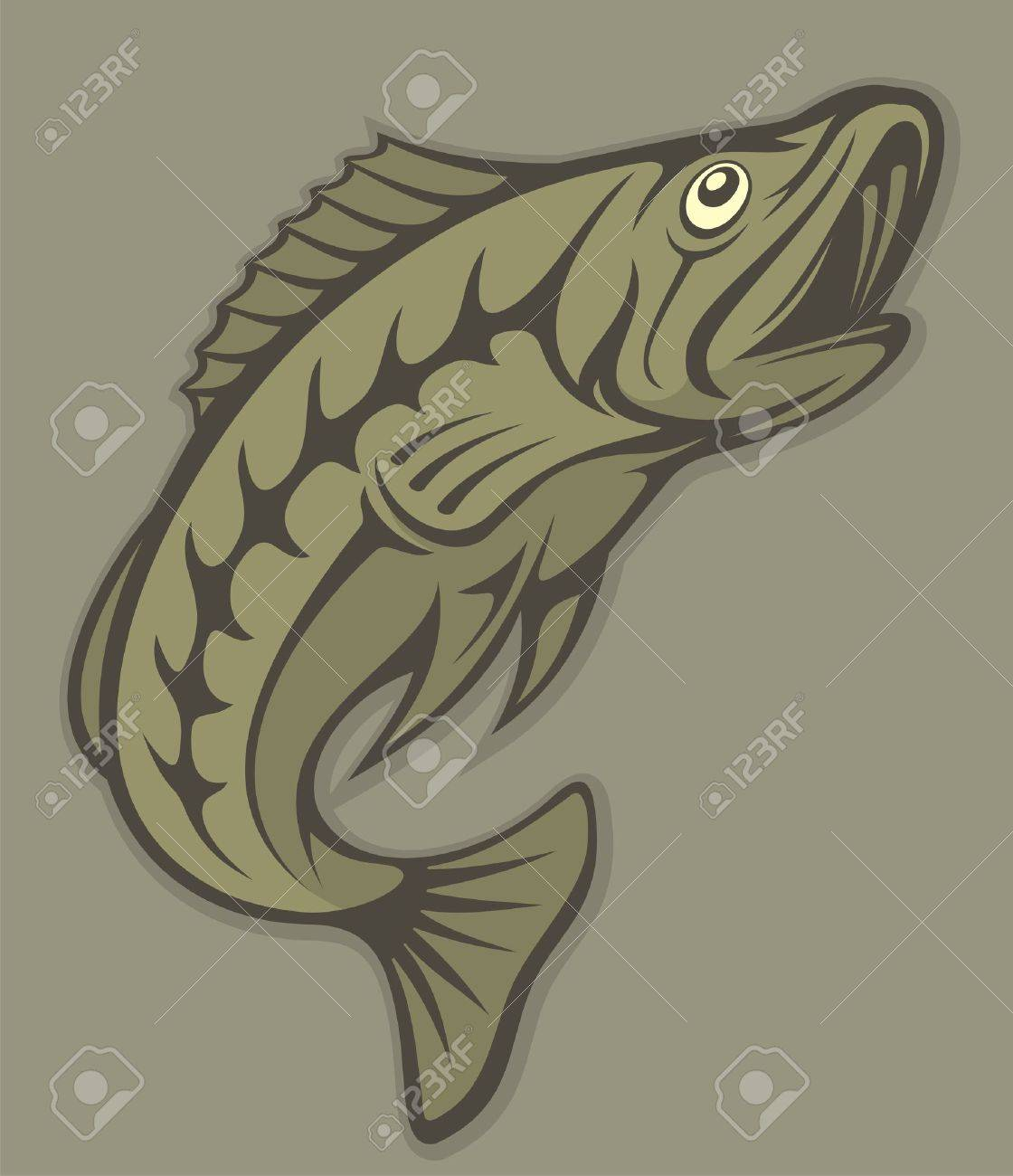 Jumping fish with open mouth illustration. - 9360649
