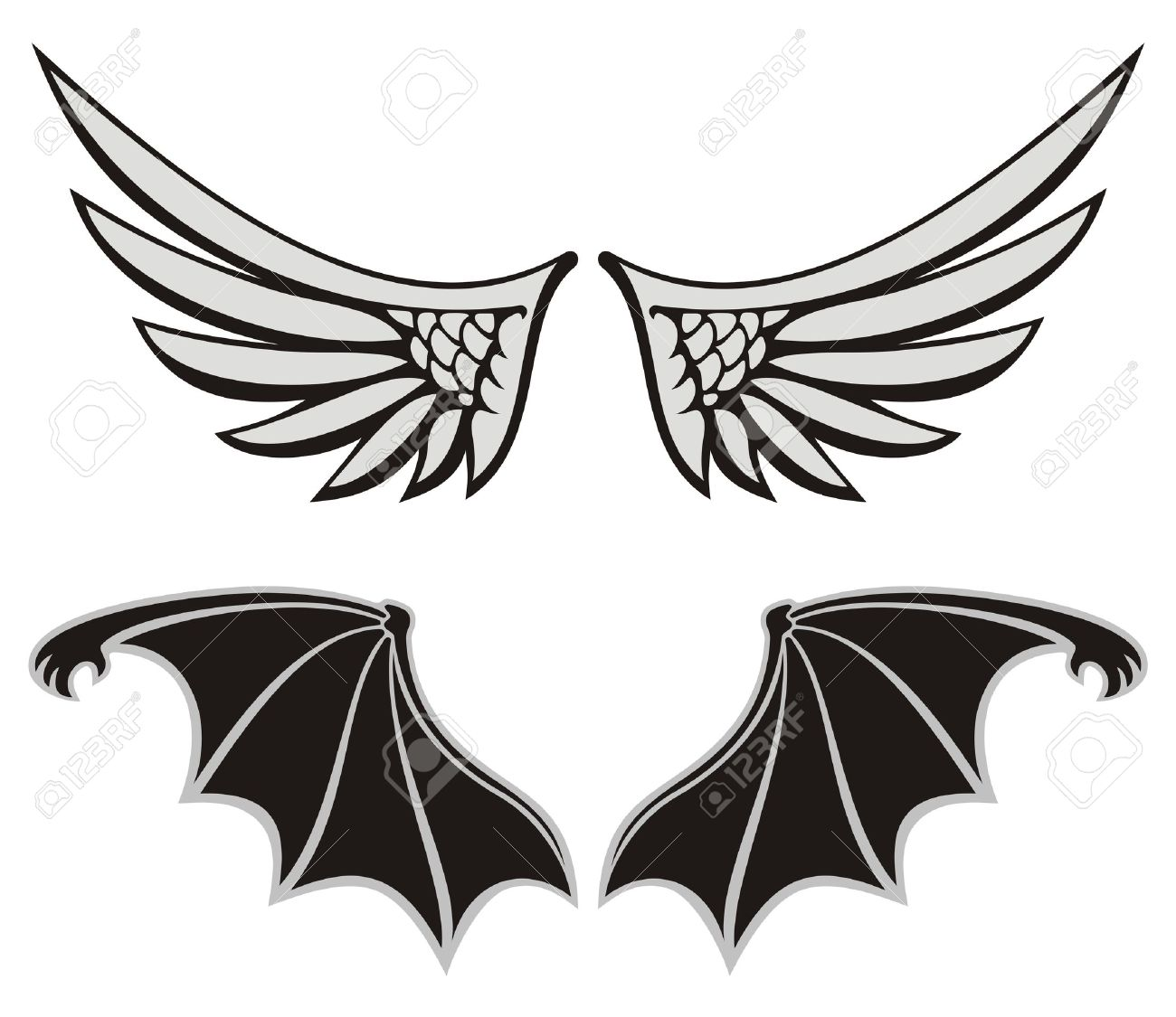 Symmetric wing shaped design elements on white background, angel and devil wings. - 9448169