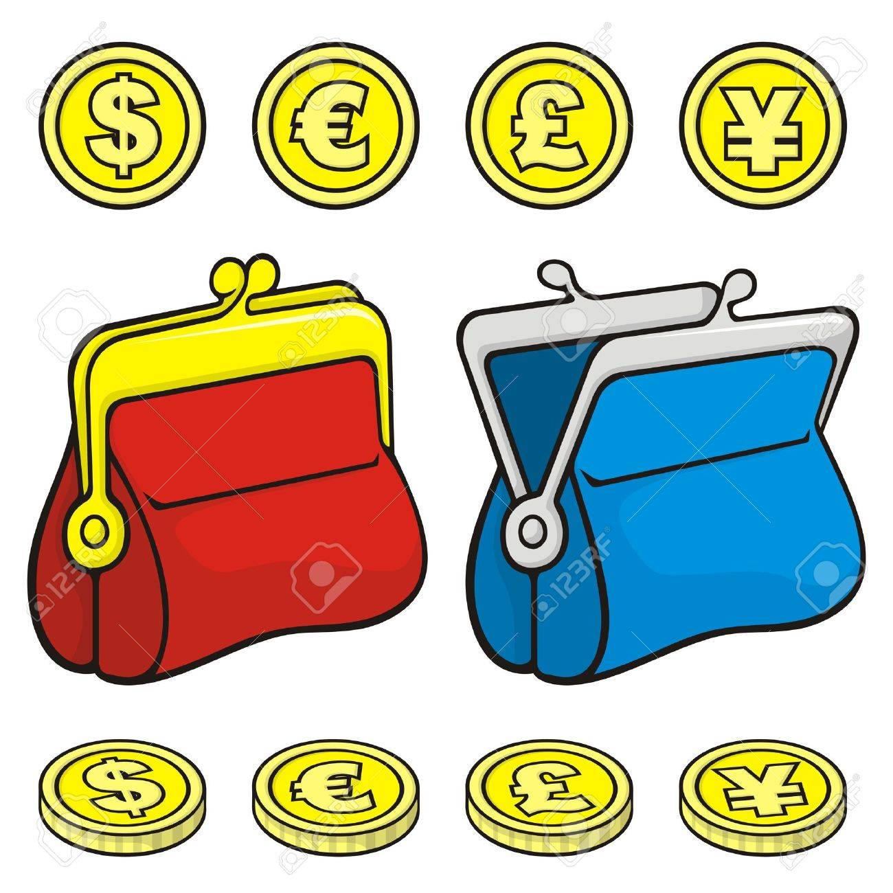 Red and blue coin purse wallet icons closed and open with coins. - 9448173