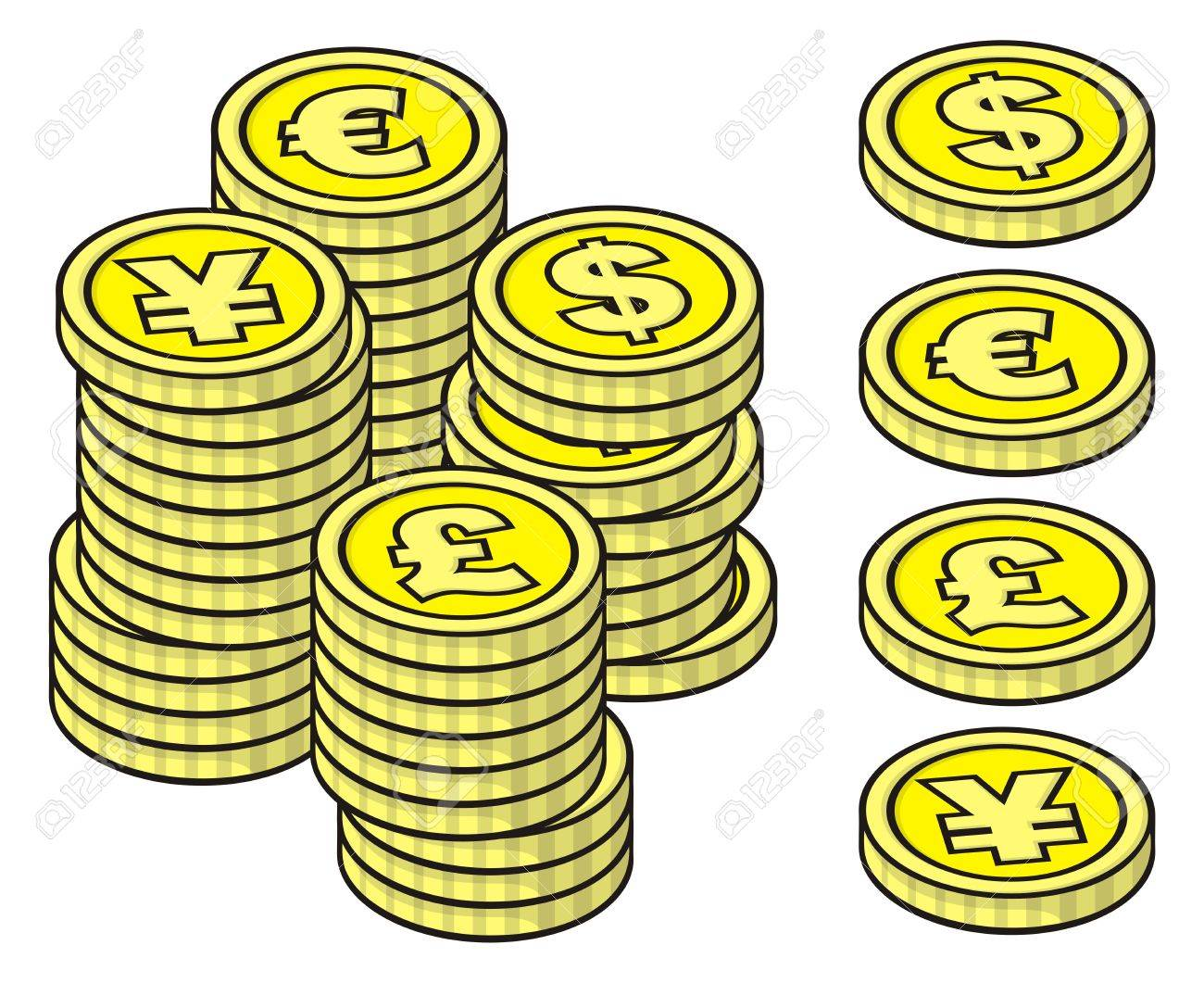 Four yellow stackable coins on white background with example stacks. - 9448175