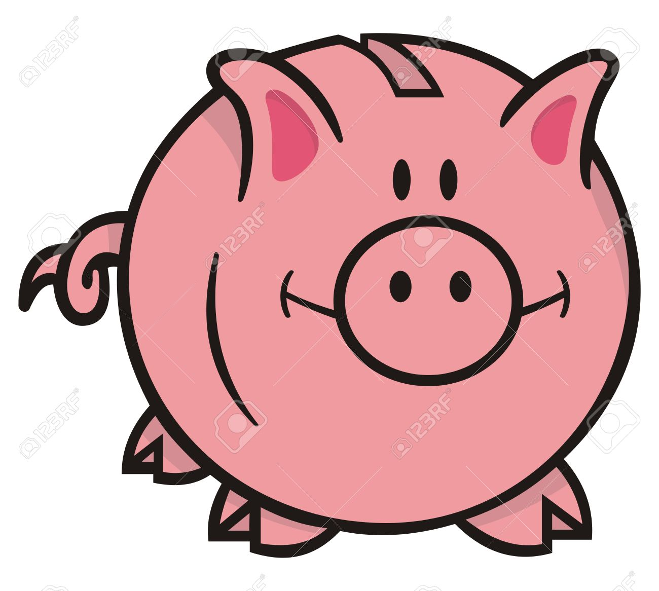Smiling pink piggy bank cartoon illustration on white background looking front. - 9448168