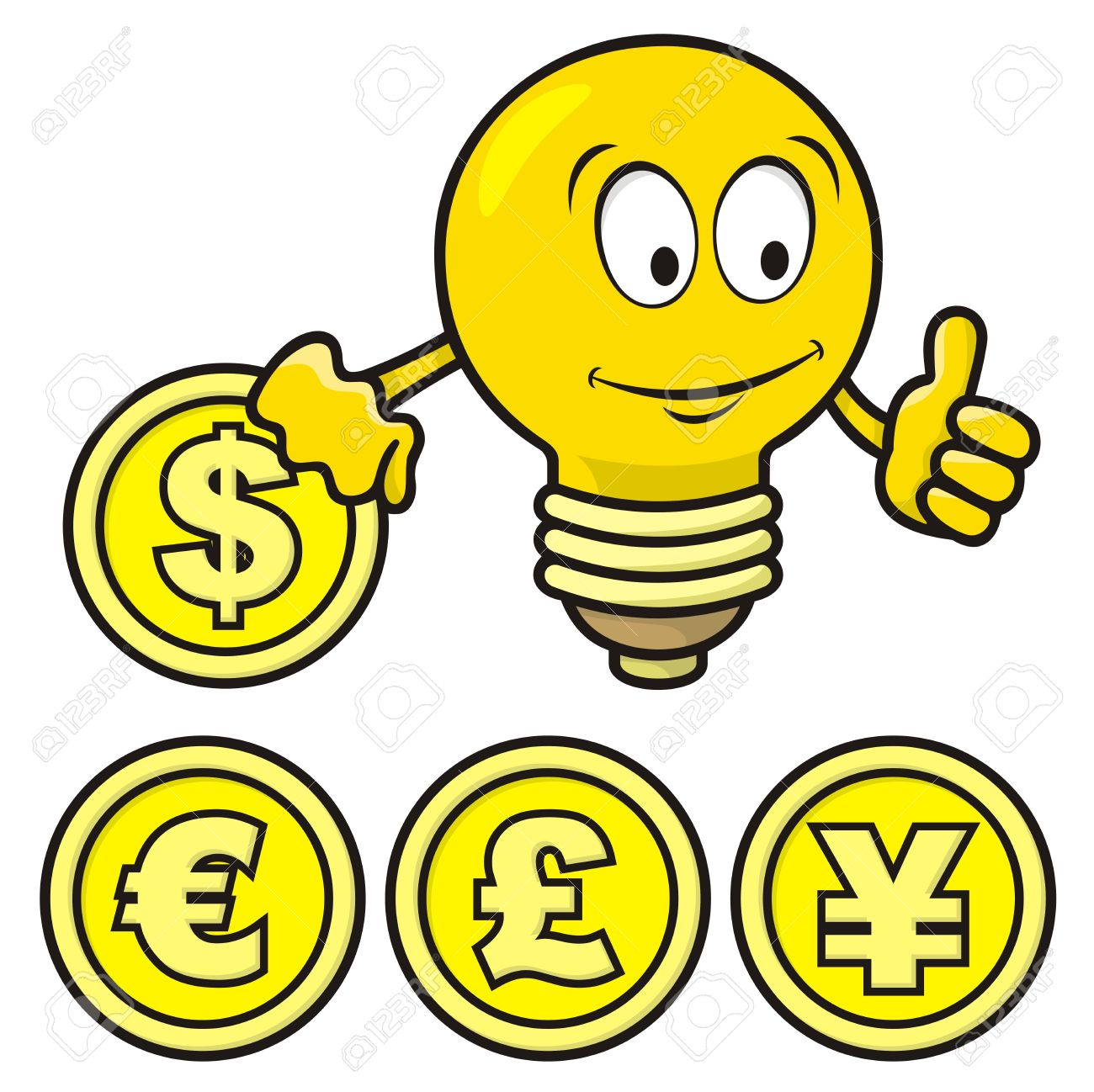 Cartoon of smiling bulb giving thumbs up and holding a coin. - 9448176