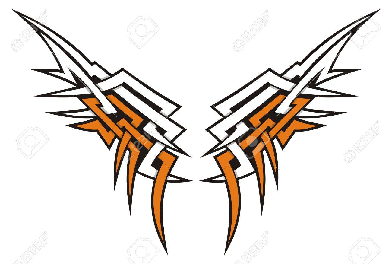 Tribal style wings icon tattoo in orange and white. - 9504513