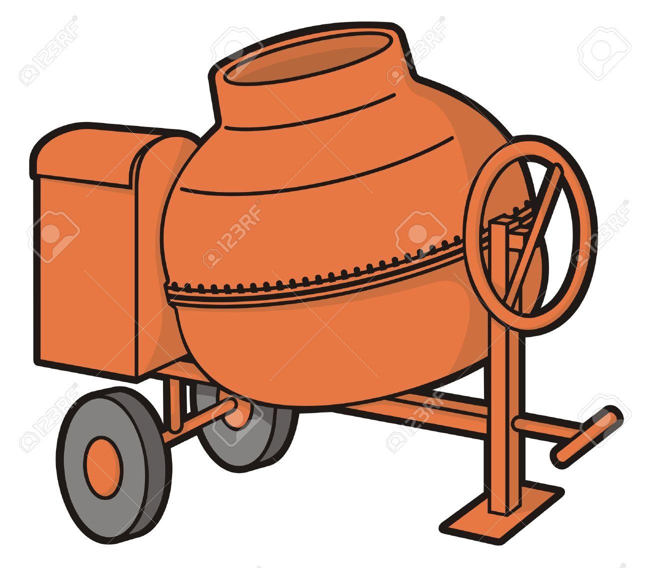 Orange mini concrete mixer with wheels illustration isolated on white background. Stock Vector - 9555523