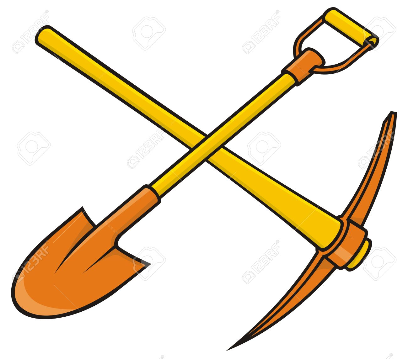 Crossed yellow and orange pickaxe and shovel icon on white background. - 9555517