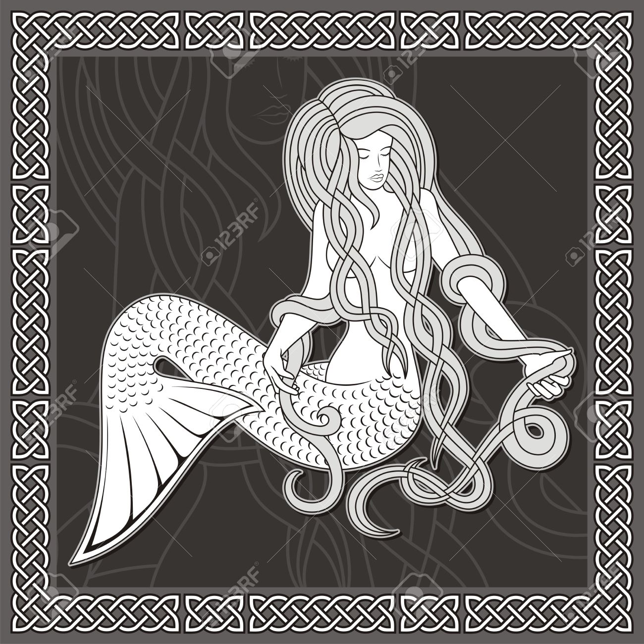 Illustration of a sitting mermaid with long hair on black background and celtic border. - 9851158