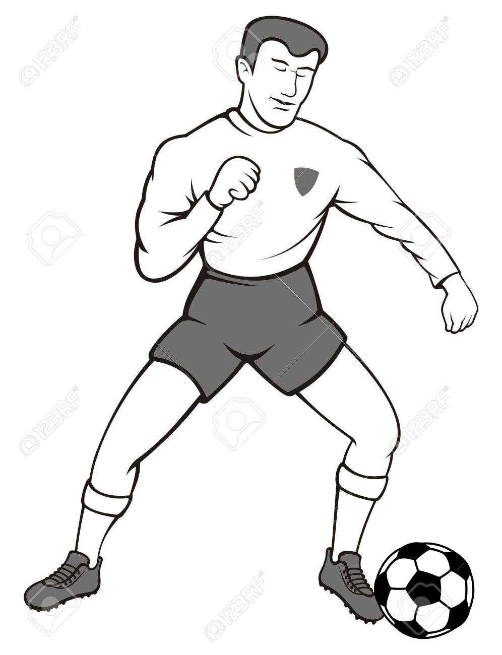 Illustration of a soccer player with a ball on white background. - 9851160