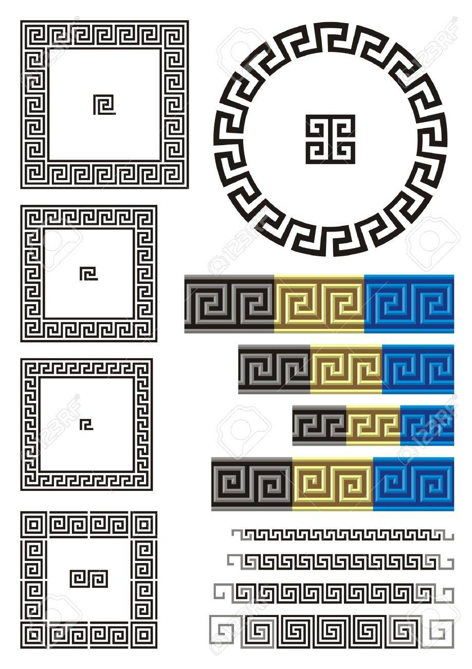 Borders and dividers created using ancient Greek key patterns. - 10045023