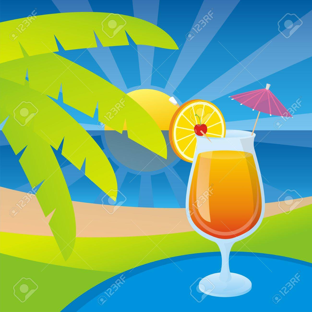 A glass of tequila sunrise cocktail on a tropical beach background. - 10411678
