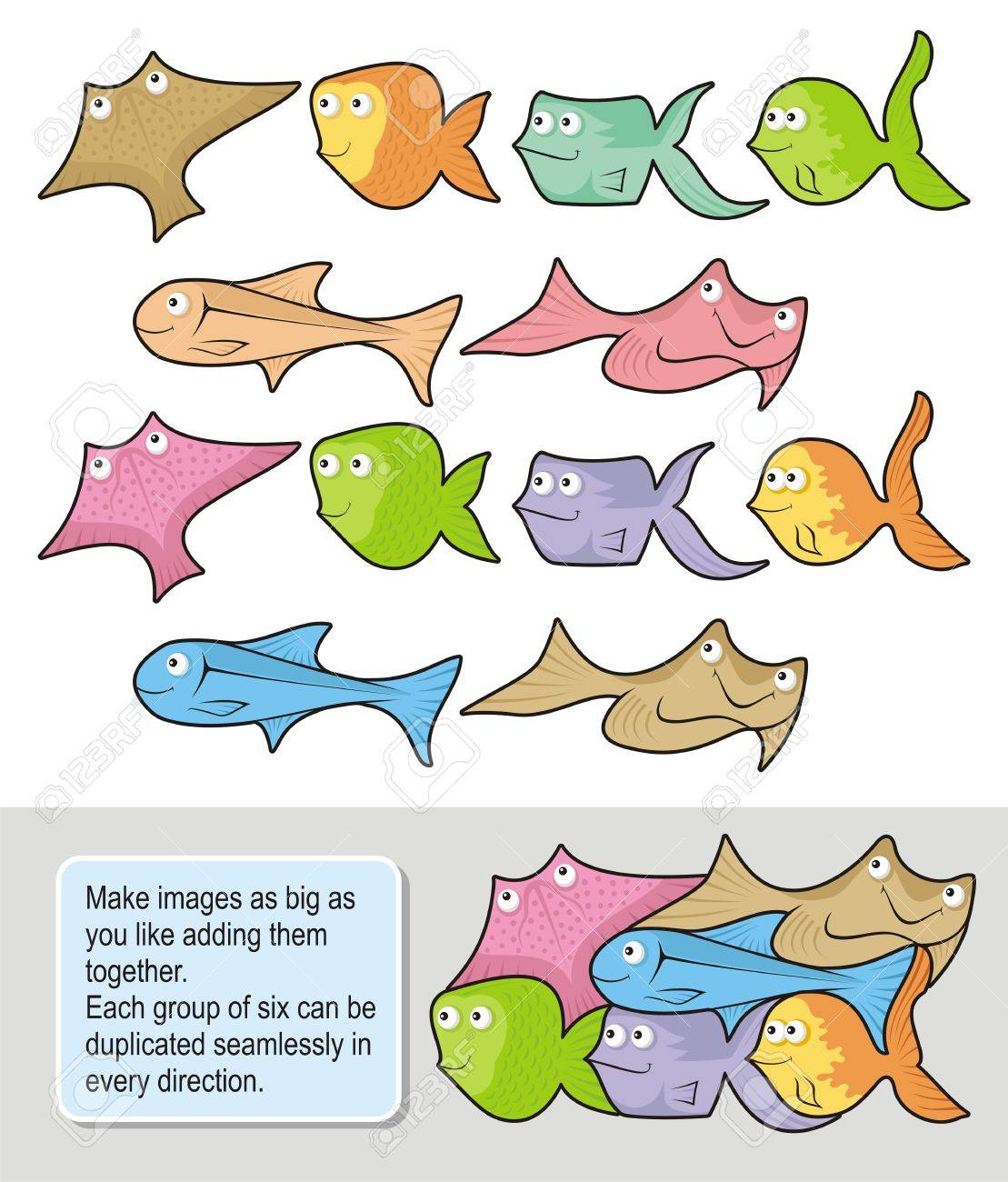 Six happy fish cartoons each one in two colored versions. Make seamless wallpapers as big as you like adding them together. - 10537525
