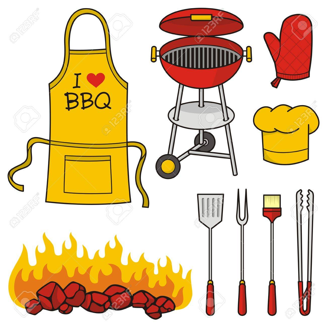 A set of barbeque icons isolated on white background. - 10615608