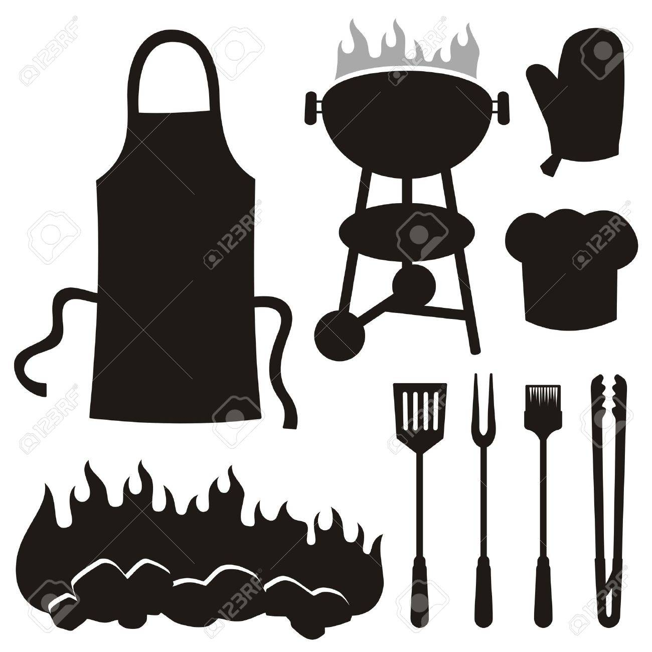 A set of barbeque silhouette icons isolated on white background. Stock Vector - 10615603