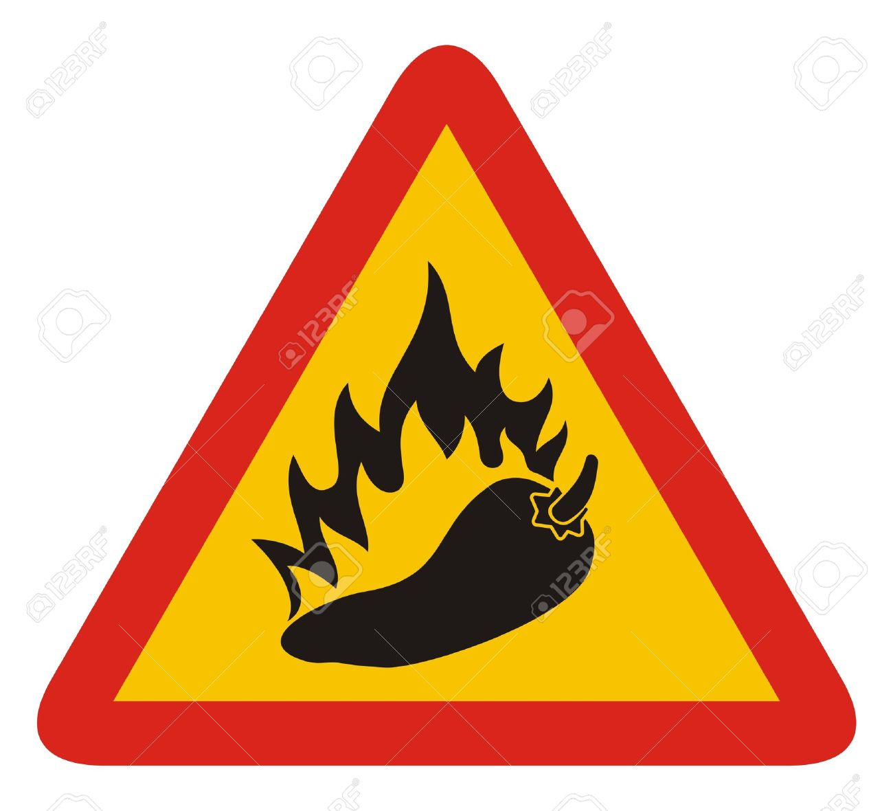 Triangle warning sign with a pepper and flame silhouette. - 10615602