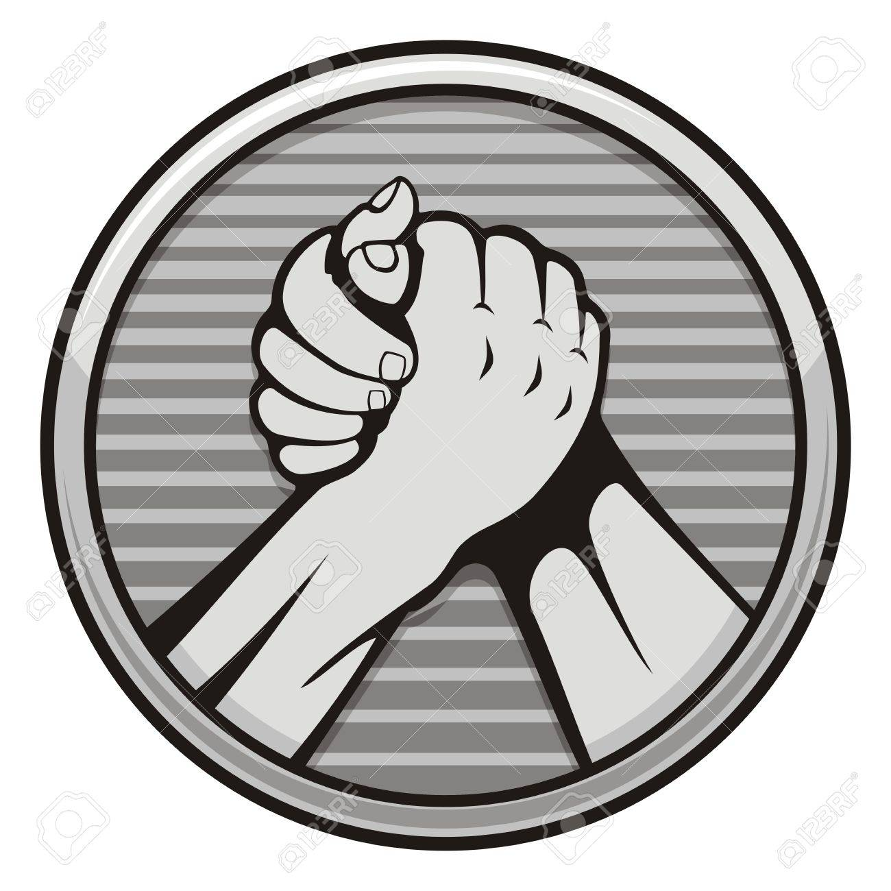 Two hands icon in arm wrestling, gray round medal isolated on white background. - 11092914