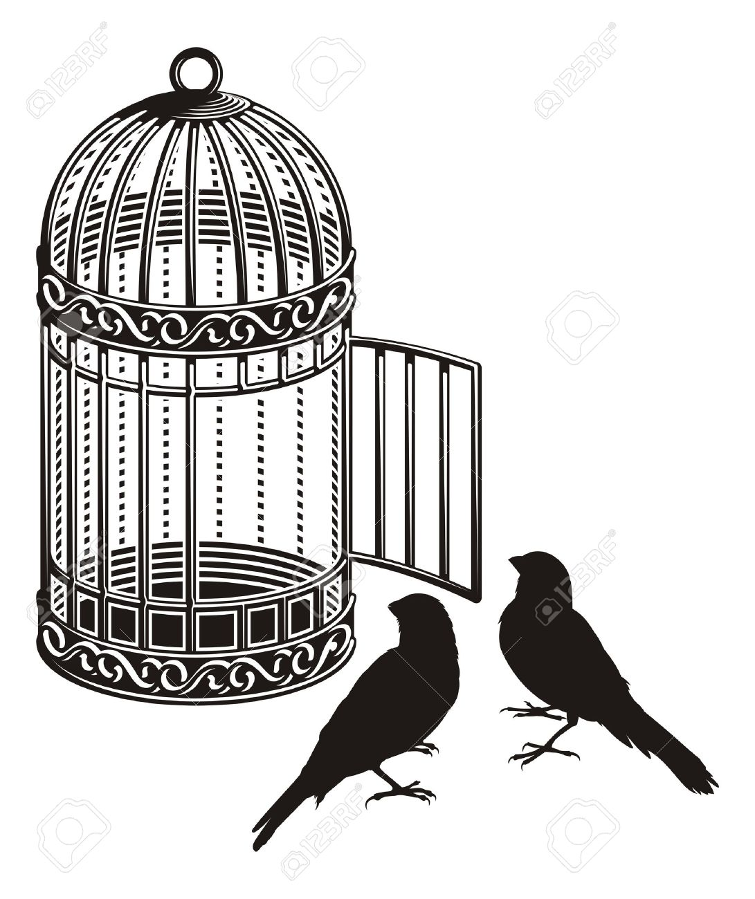 Metallic bird cage with open door and two bird silhouettes. Stock Vector - 11092921