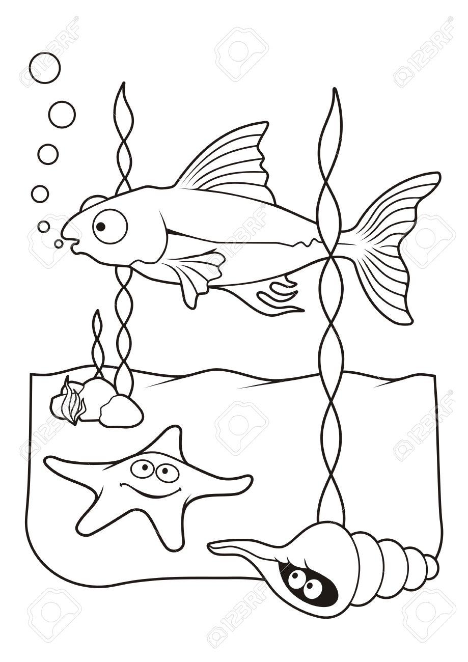 Escena Bajo El Agua Con Estrellas De Mar De Peces Y Los Dibujos Animados Shell El Arte De Línea Para Colorear Libro