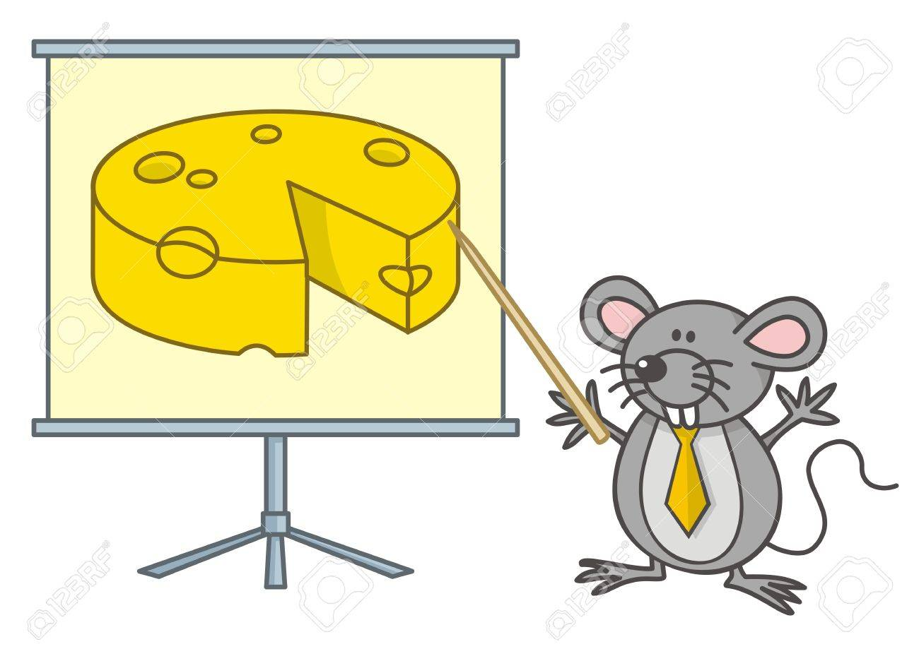 Mouse businessman cartoon points yellow cheese on a board. - 11092915
