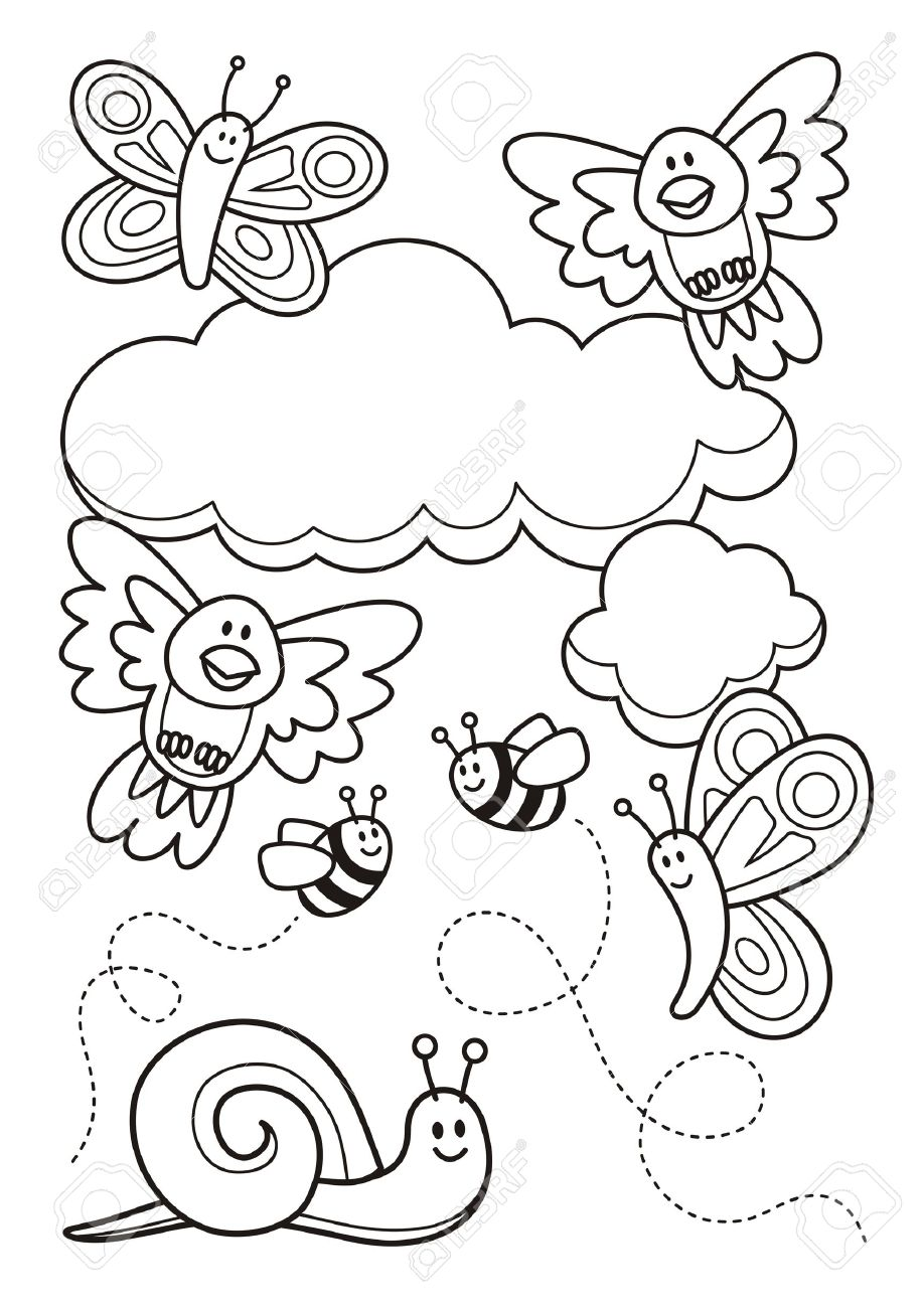 Bee and butterfly coloring pages - A Spring Scene With Baby Animal Cartoons Butterflies Birds Bee And A Snail