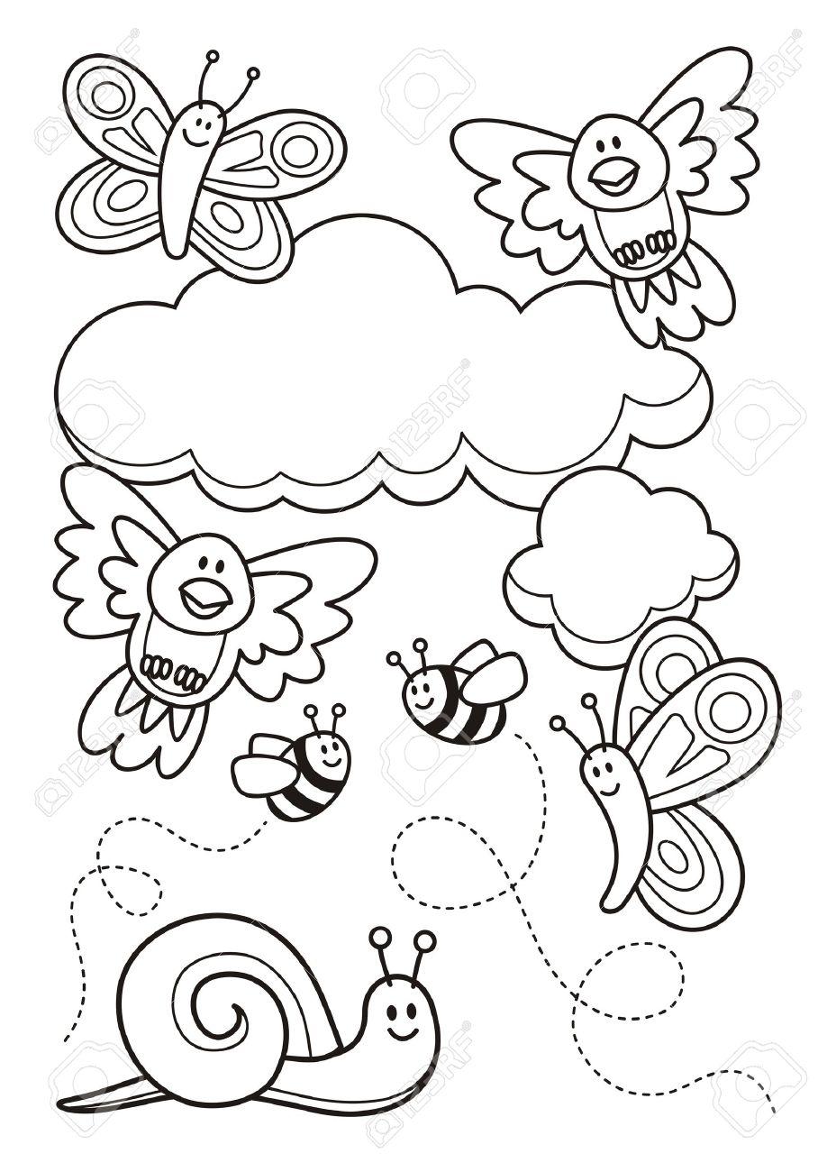 Una Escena De La Primavera Con Dibujos Animados Animal Bebé ...