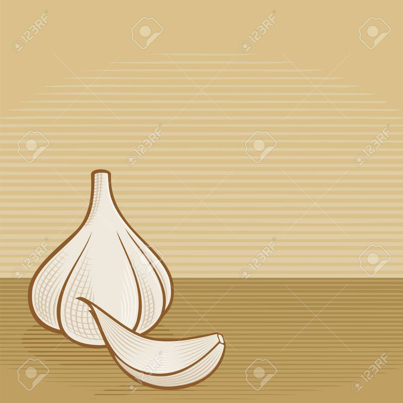 Garlic bulb with clove icons with woodcut shading on beige background. - 13108682