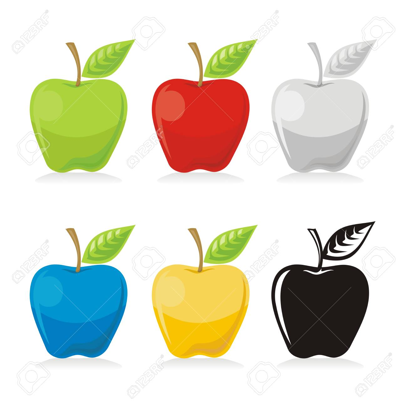Apple with leaf icon in colored versions isolated on white background. - 13863579