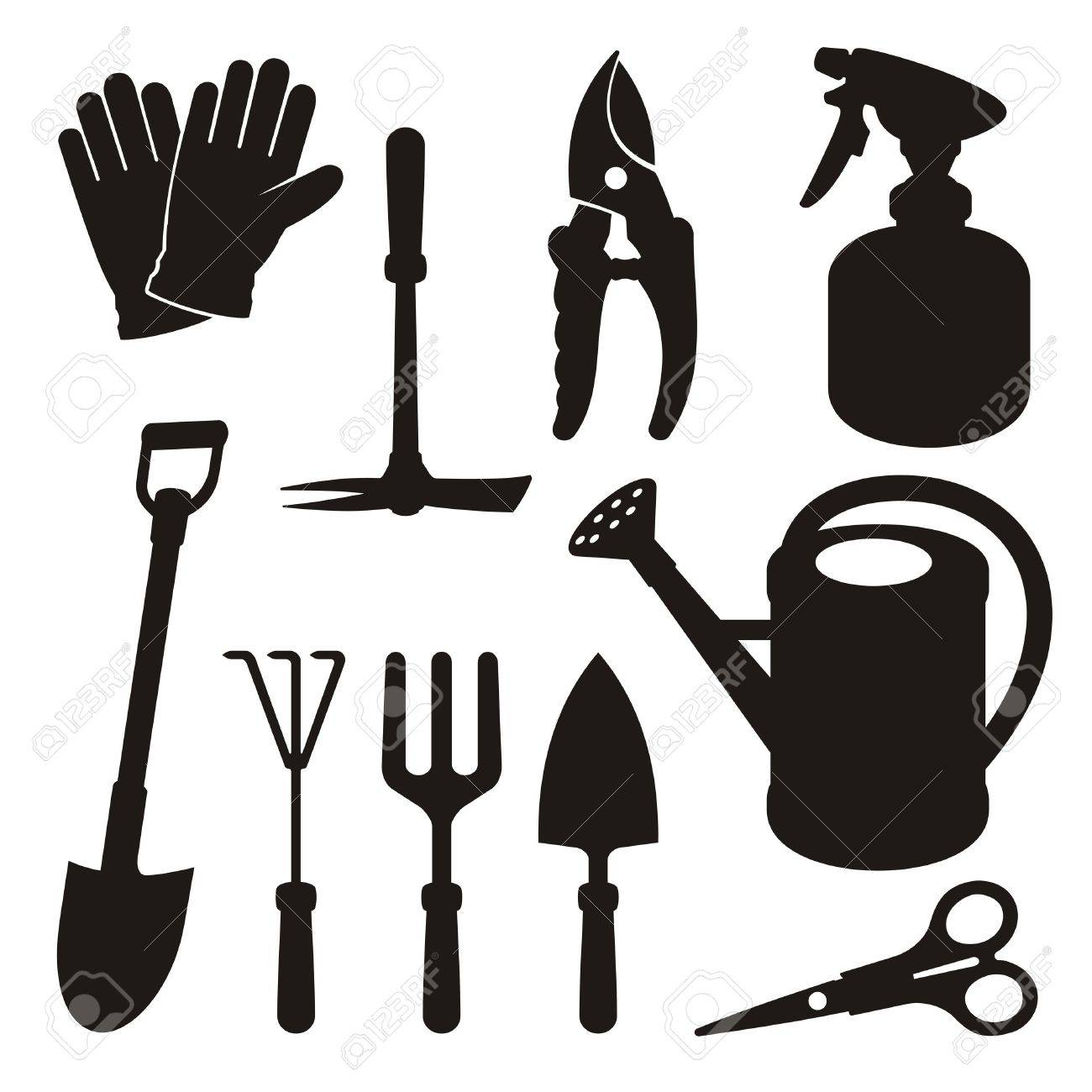 A set of gardening tool silhouette icons isolated on white background. - 14289834