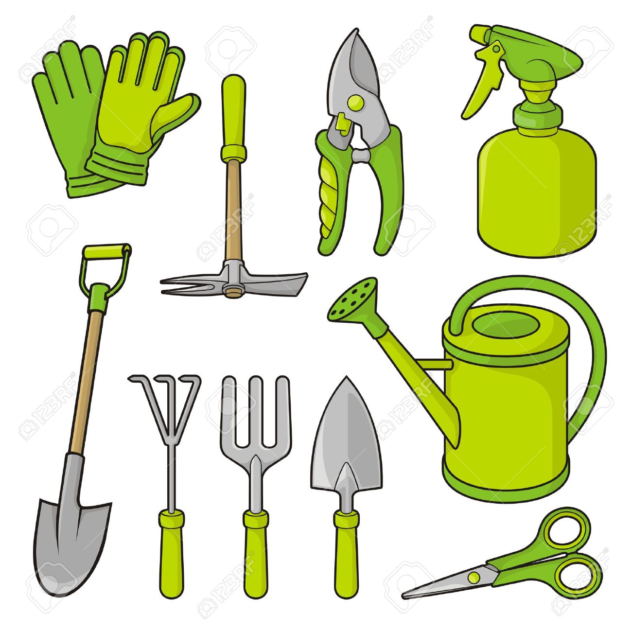 A Set Of Gardening Tool Icons Isolated On White Background. Stock Vector    14308059