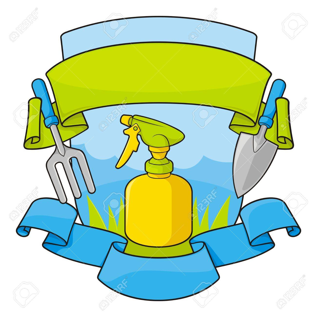 Gardening shield with grass and sky background, tools, spray bottle and banners. - 14488746