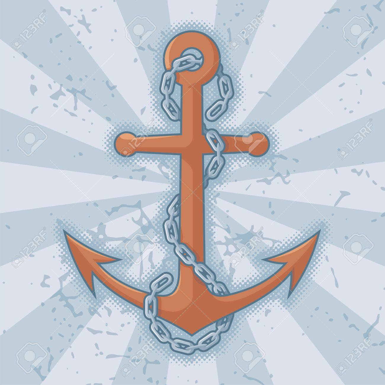 Anchor with chain icon on grunge light blue background. - 14813412