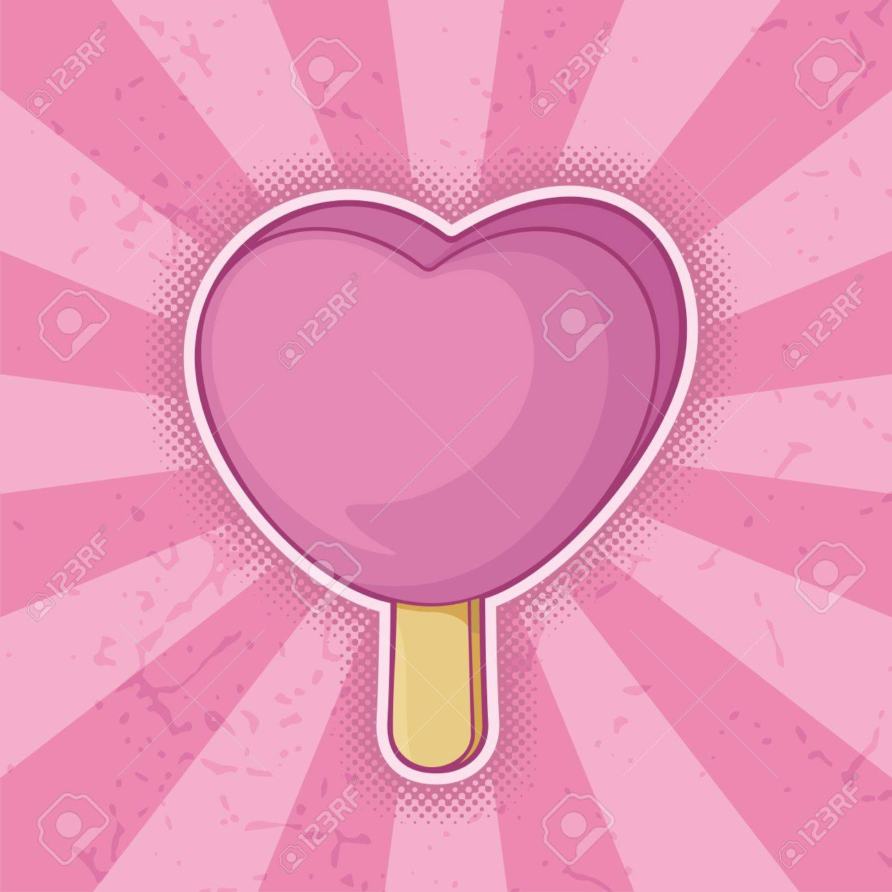 Pink heart shaped ice cream stick icon grunge background. - 14813410